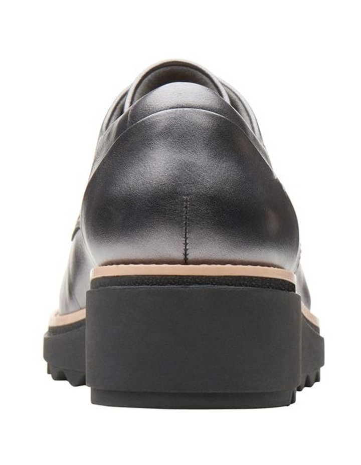 Clarks Sharon Noel Gunmetal Metallic Leather Flat Shoe image 6