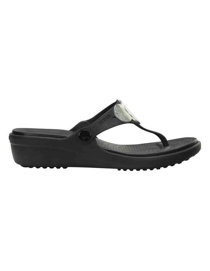 Sanrah Embellished Wedge Flip Black/Silver Metallic Sandal image 1