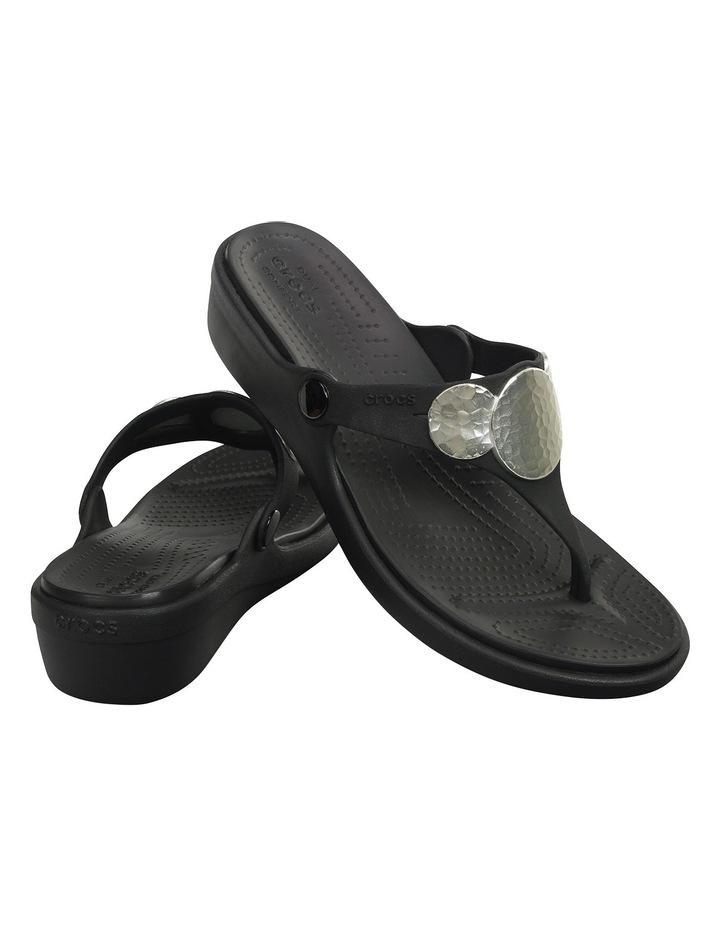 Sanrah Embellished Wedge Flip Black/Silver Metallic Sandal image 2