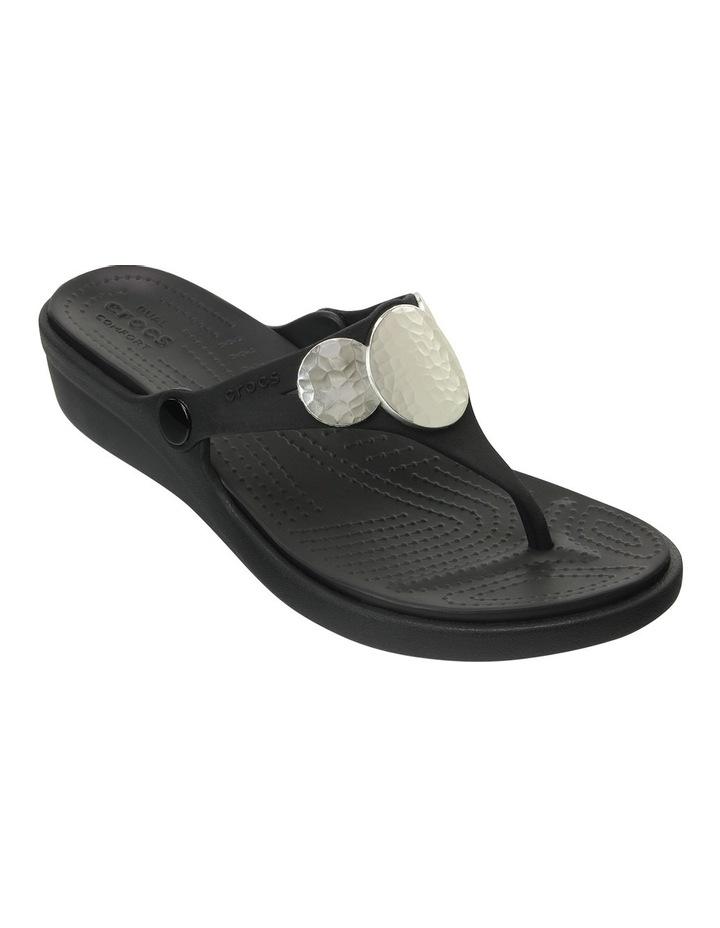 Sanrah Embellished Wedge Flip Black/Silver Metallic Sandal image 4