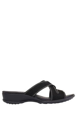 Wide Steps - Caddy Black Nubuck Sandal