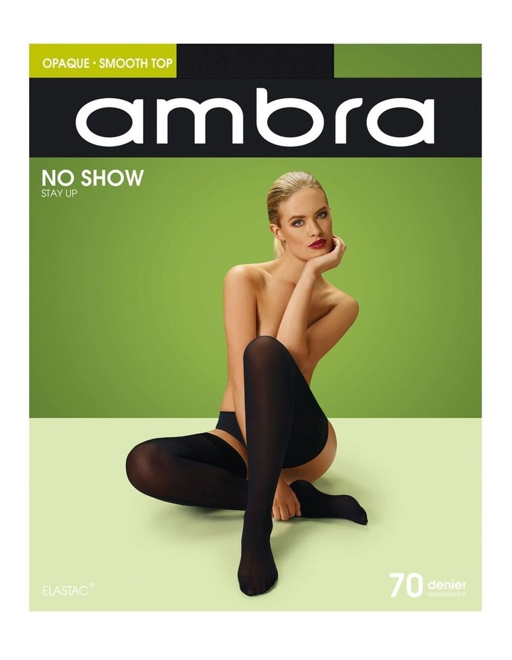 No Show Opaque Stay Up Black Tights image 2