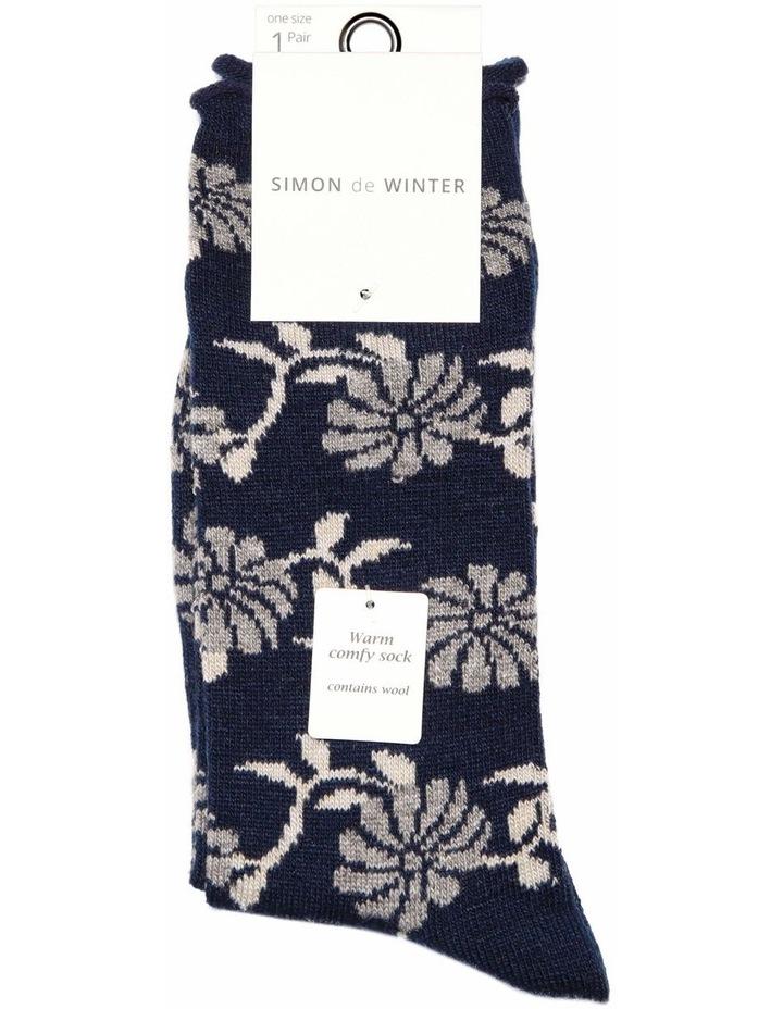 Floral Wool Blend Crew Sock 23-229 image 1