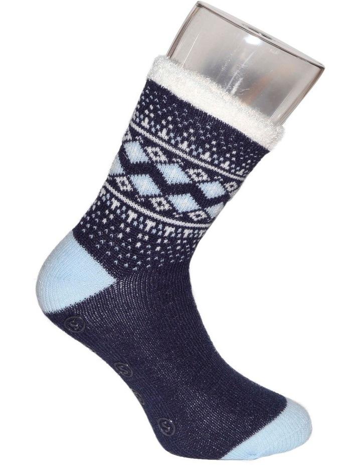 Plush Lined Border Fairisle 3qtr Crew Sock 20-131 image 3