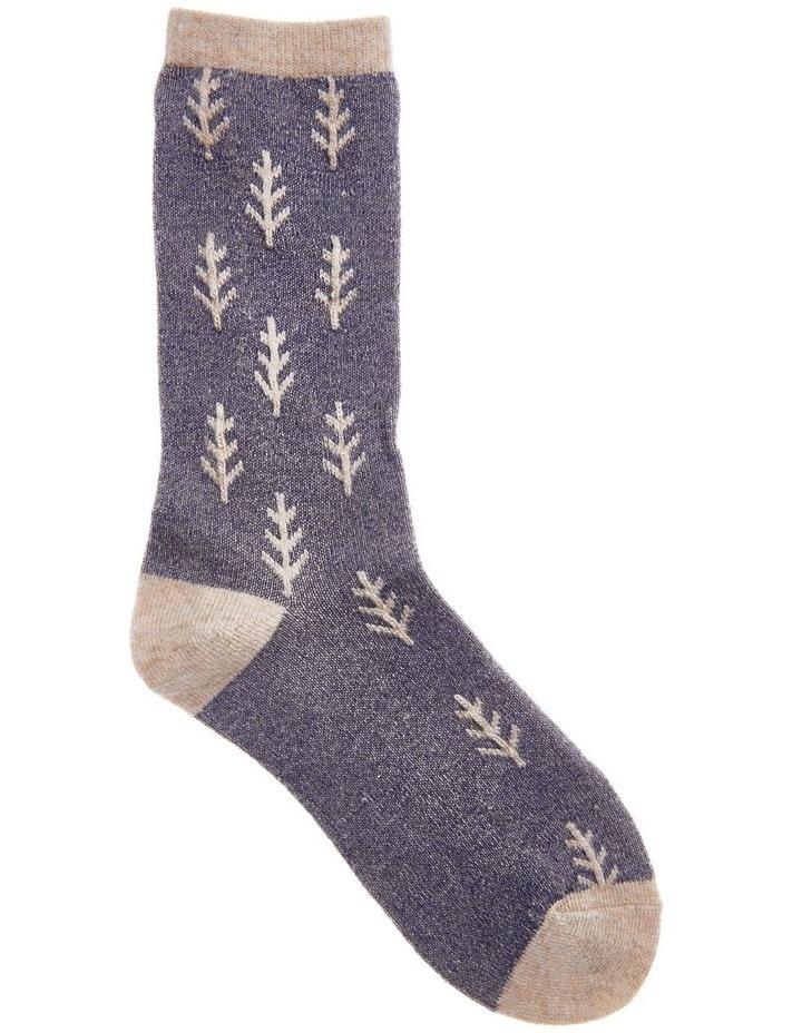 Wool Raised Leaf Rib Crew Socks 25-212 image 1