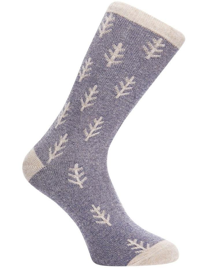 Wool Raised Leaf Rib Crew Socks 25-212 image 3