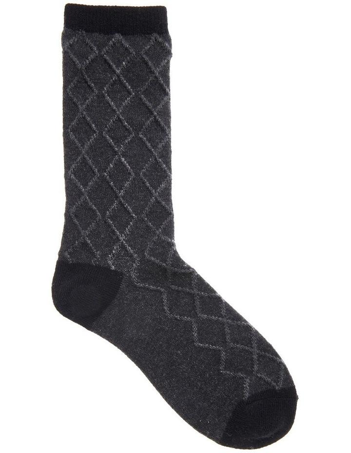 Wool Raised Diamond Crew Socks 25214 image 1