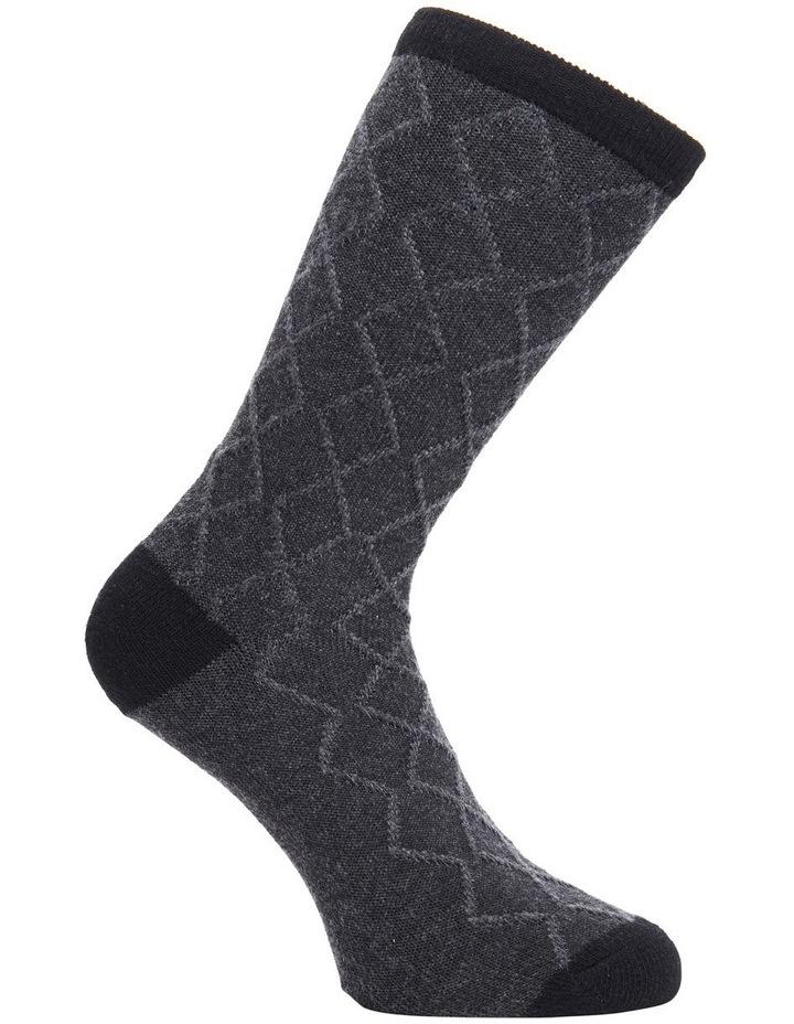 Wool Raised Diamond Crew Socks 25214 image 3