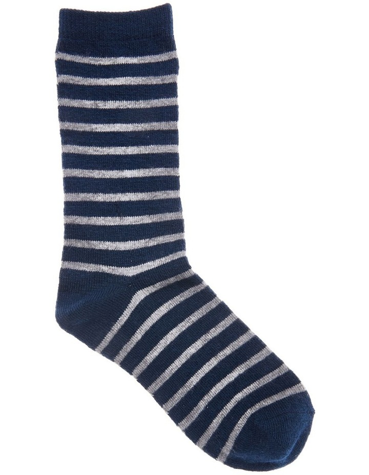 Wool Stripe Crew Socks 21-163 image 1