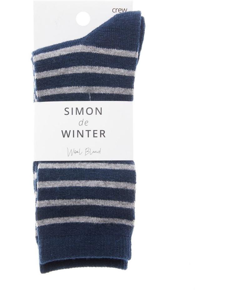 Wool Stripe Crew Socks 21-163 image 2