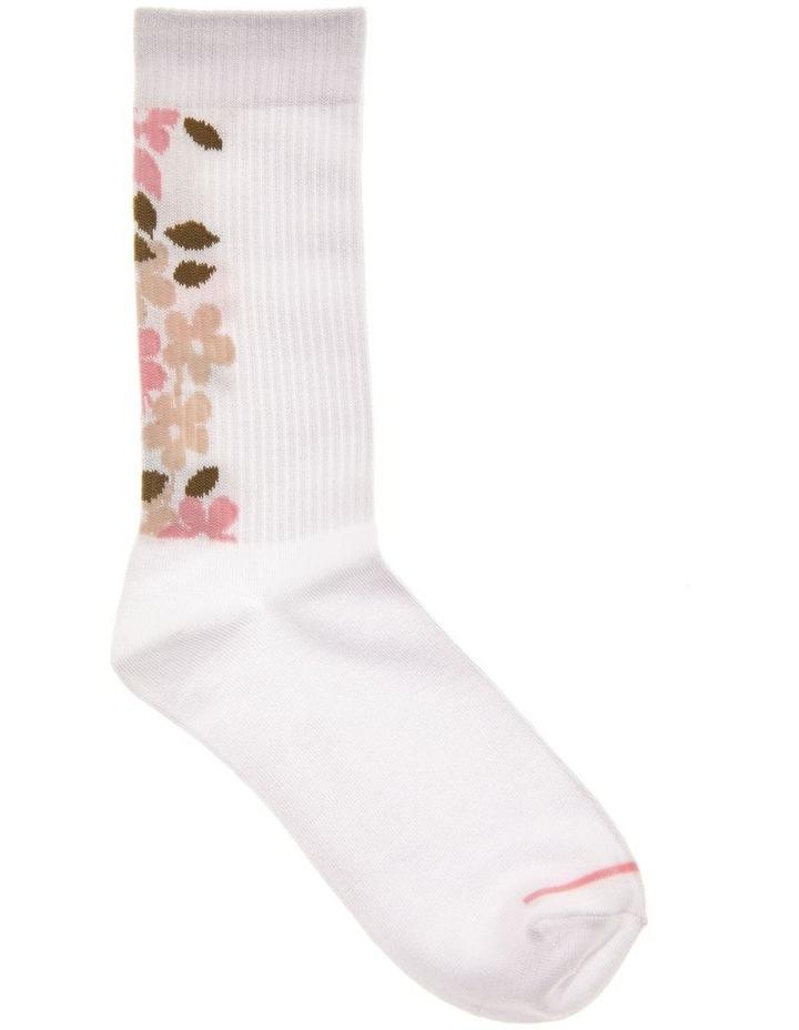 Floral Rib Crew Socks image 1