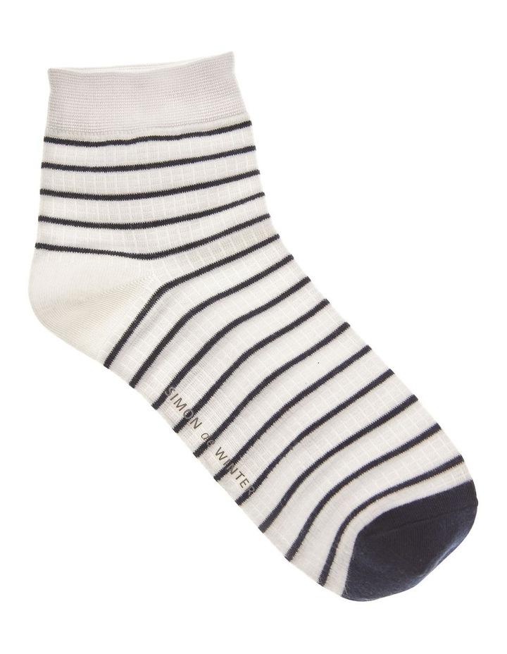 Waffle Qtr Crew Socks Ivory image 1