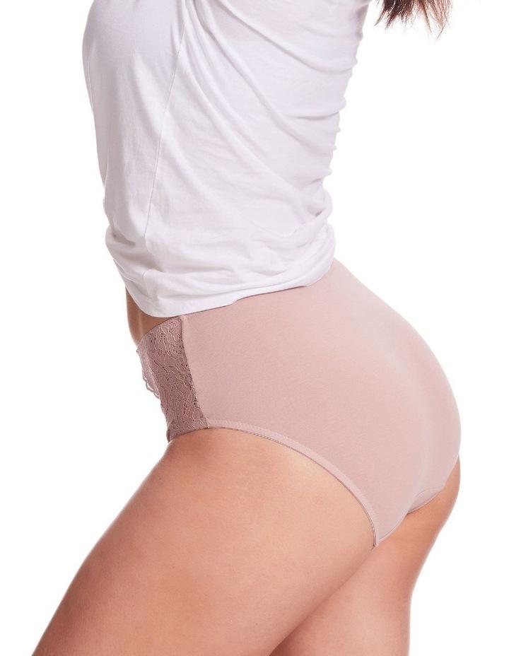 Stretch Cotton & Lace Full Brief Blush image 3