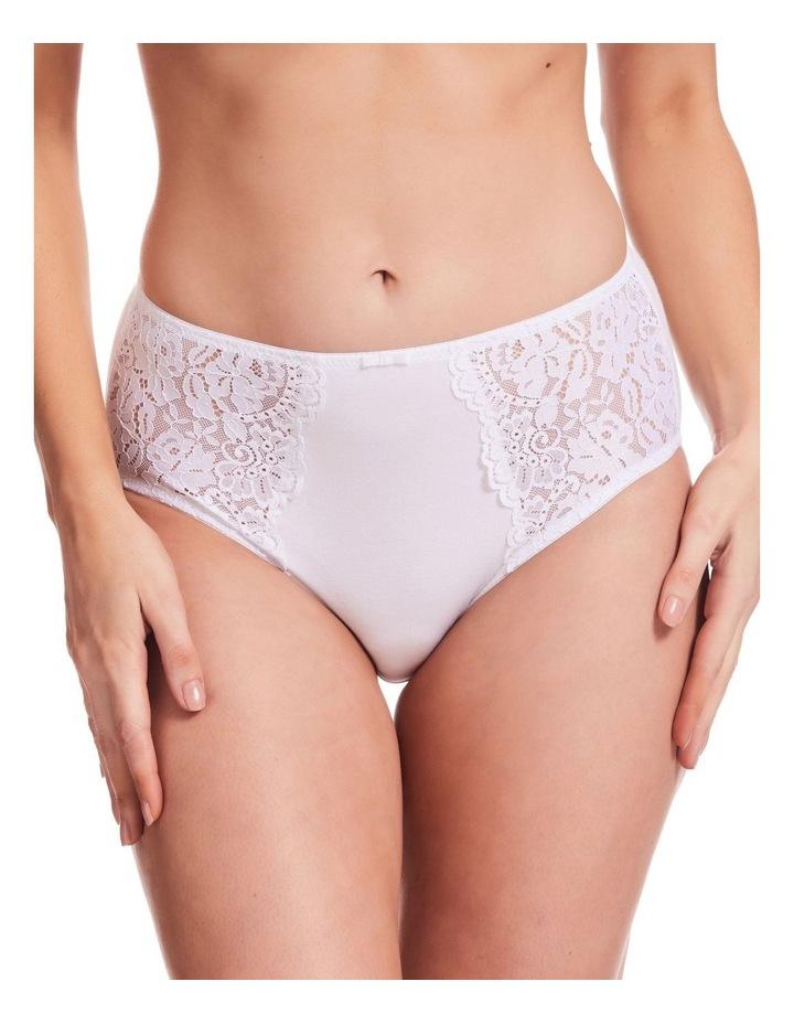 Stretch Cotton & Lace Full Brief White image 1
