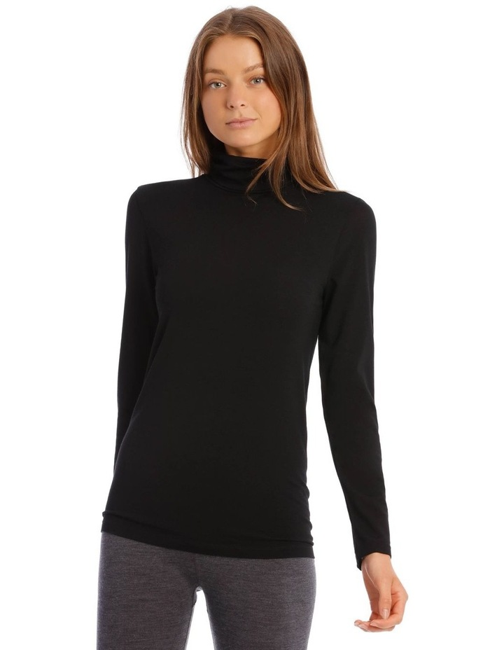 Wool & Bamboo Thermal Roll-Neck Long-Sleeve Top in Black image 1