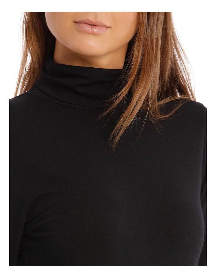 Wool & Bamboo Thermal Roll-Neck Long-Sleeve Top in Black image 2