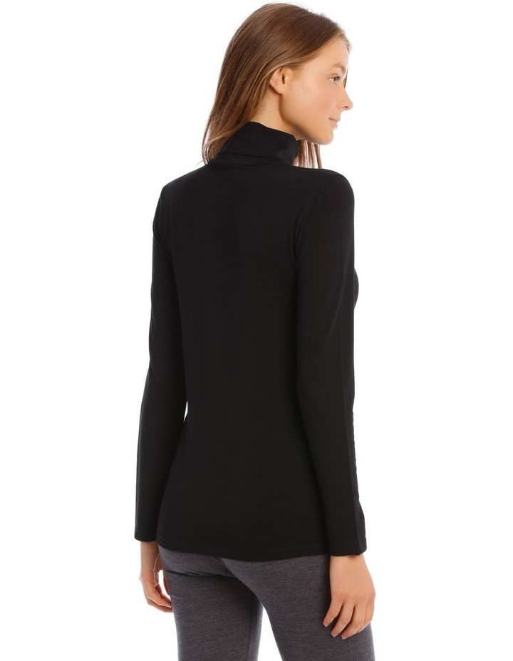 Wool & Bamboo Thermal Roll-Neck Long-Sleeve Top in Black image 3