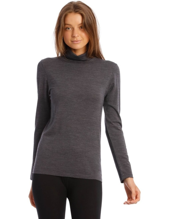 Wool & Bamboo Thermal Roll-Neck Long-Sleeve Top in Charcoal image 1