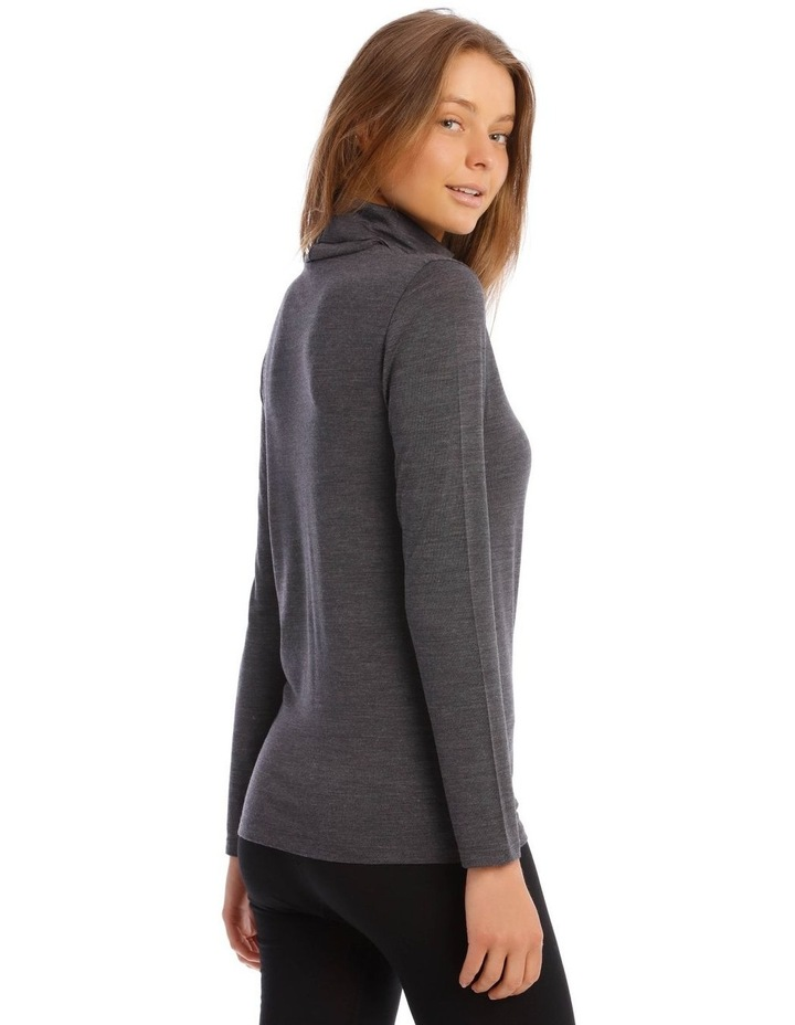 Wool & Bamboo Thermal Roll-Neck Long-Sleeve Top in Charcoal image 3