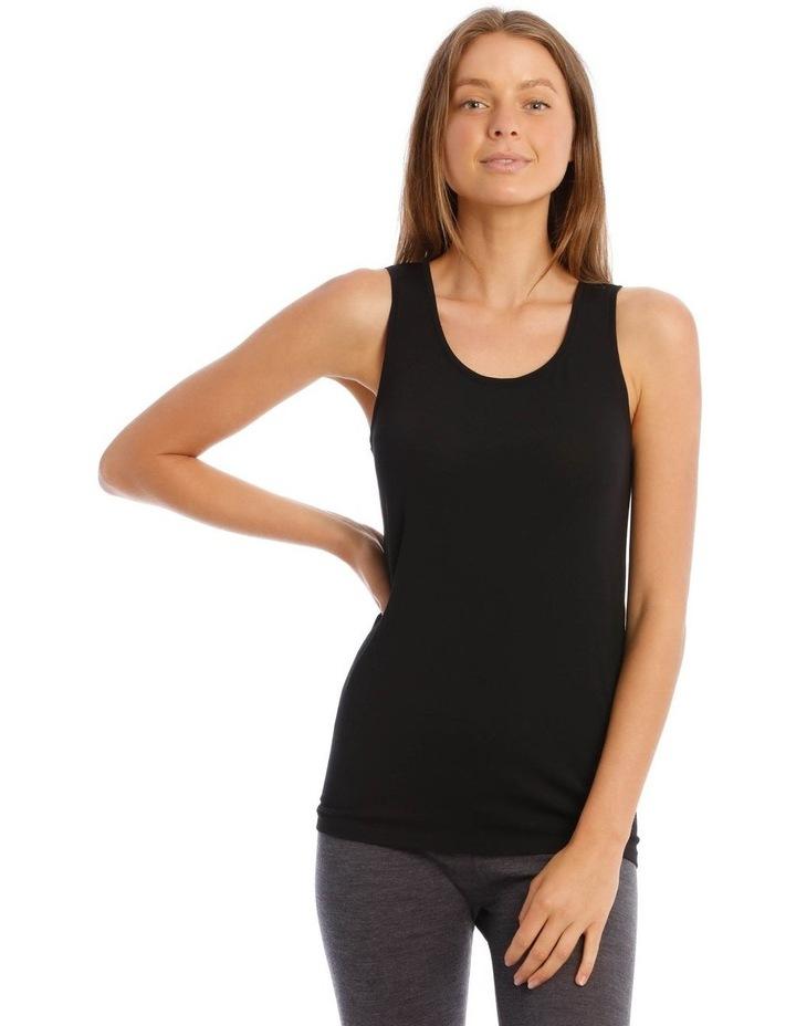 Wool & Bamboo Thermal Tank Top in Black image 1