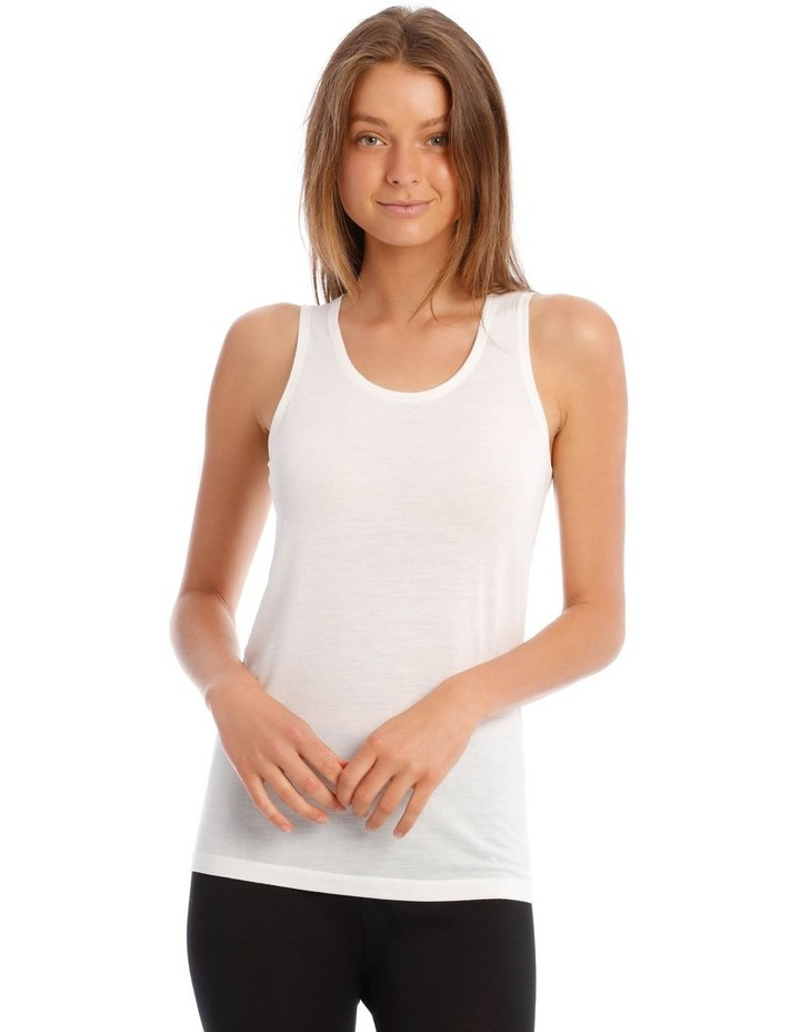 Wool & Bamboo Thermal Tank Top in White image 1