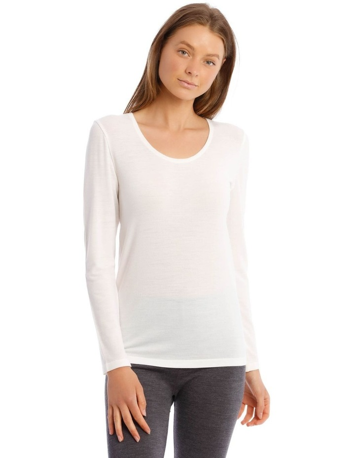Wool & Bamboo Thermal Long-Sleeve Top in White image 1