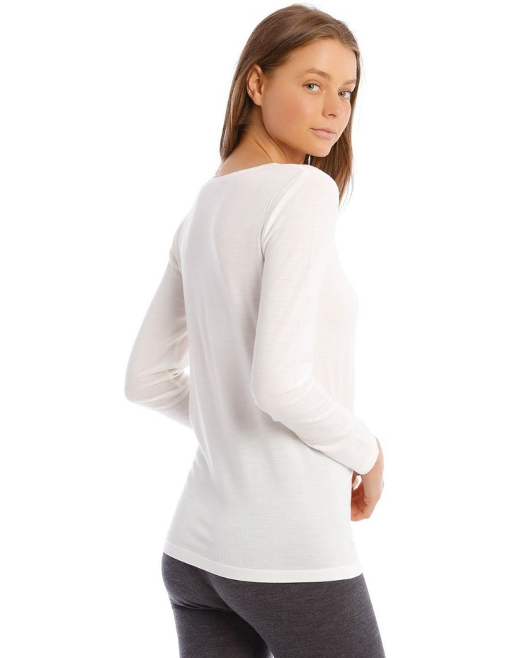 Wool & Bamboo Thermal Long-Sleeve Top in White image 3