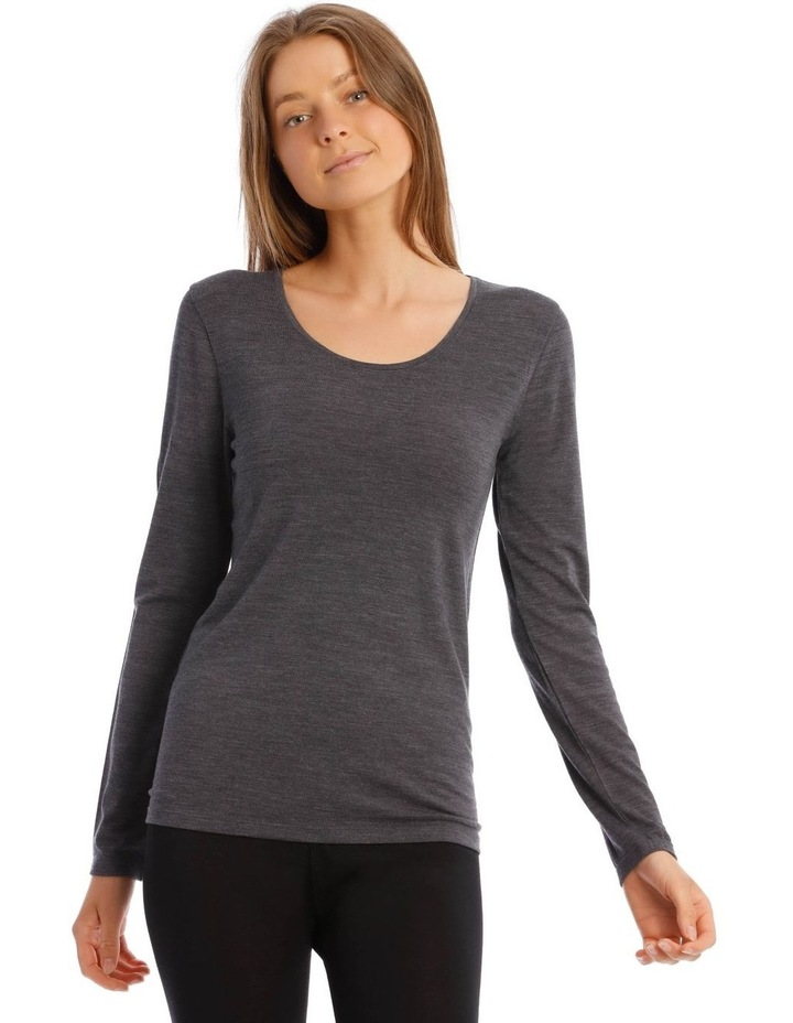 Wool & Bamboo Thermal Long-Sleeve Top in Charcoal image 1