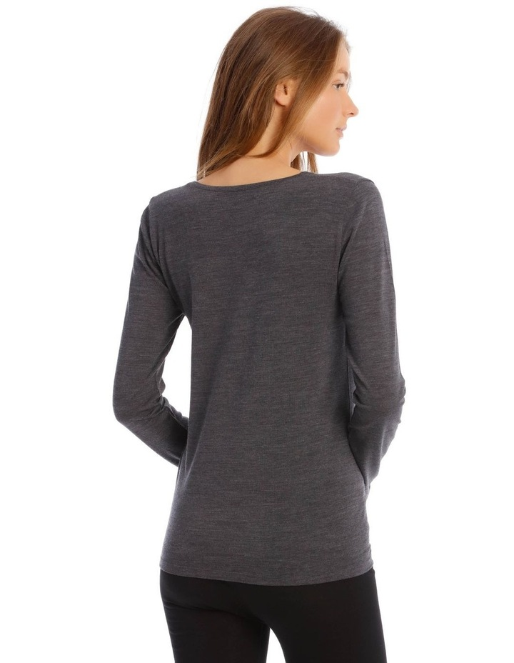Wool & Bamboo Thermal Long-Sleeve Top in Charcoal image 3