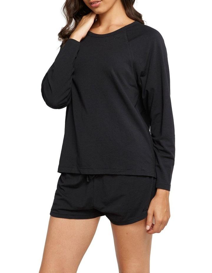 Comfy Livin Raglan Long Sleeve Top Black image 2