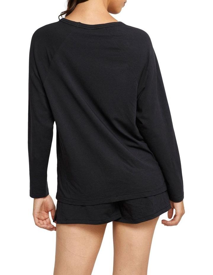 Comfy Livin Raglan Long Sleeve Top Black image 3