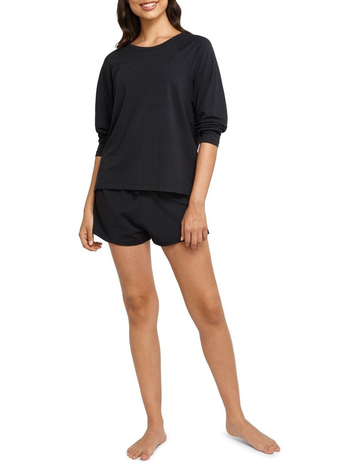 Comfy Livin Raglan Long Sleeve Top Black image 4