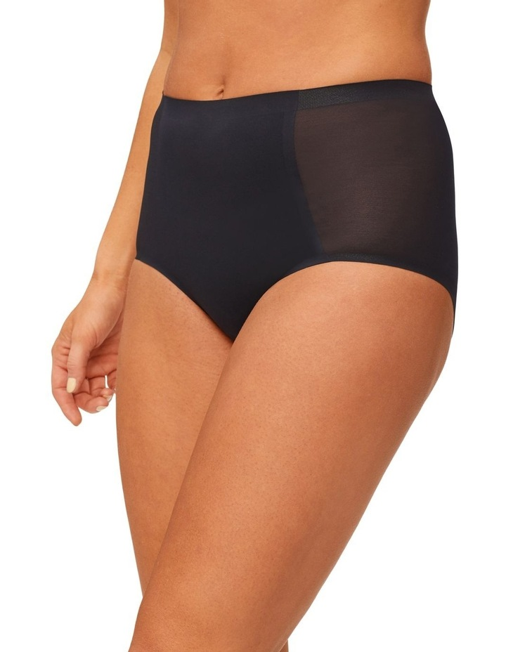 Solid & Sheer Waisted Brief Black image 1