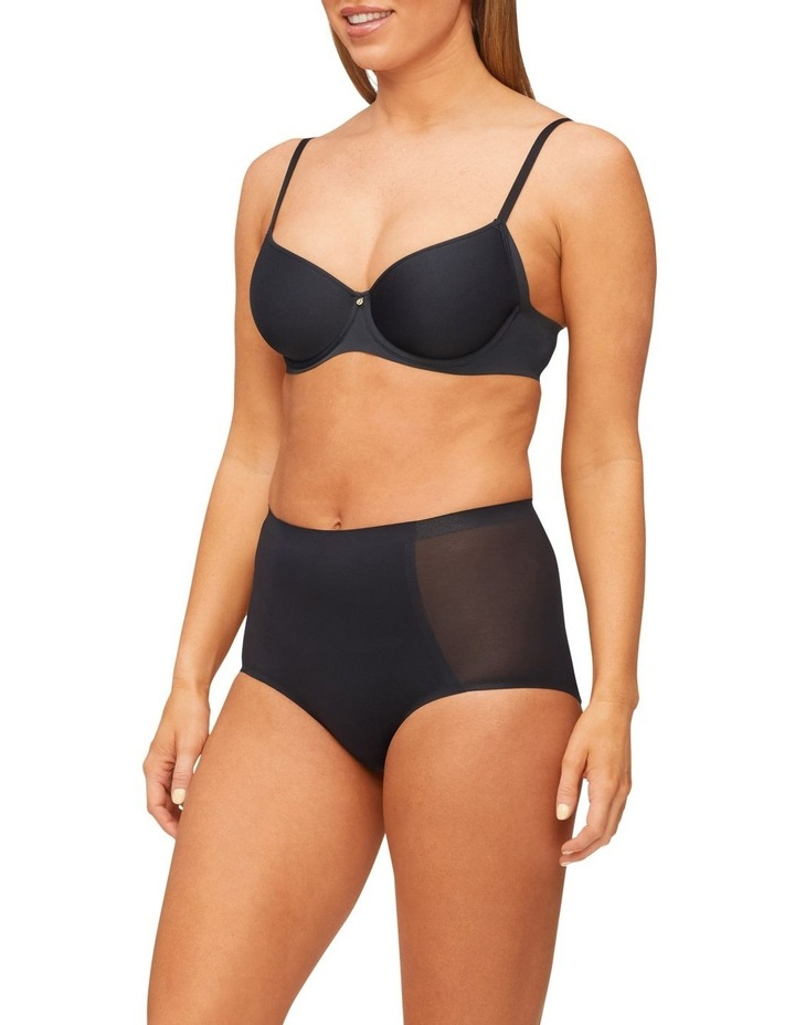 Solid & Sheer Waisted Brief Black image 3