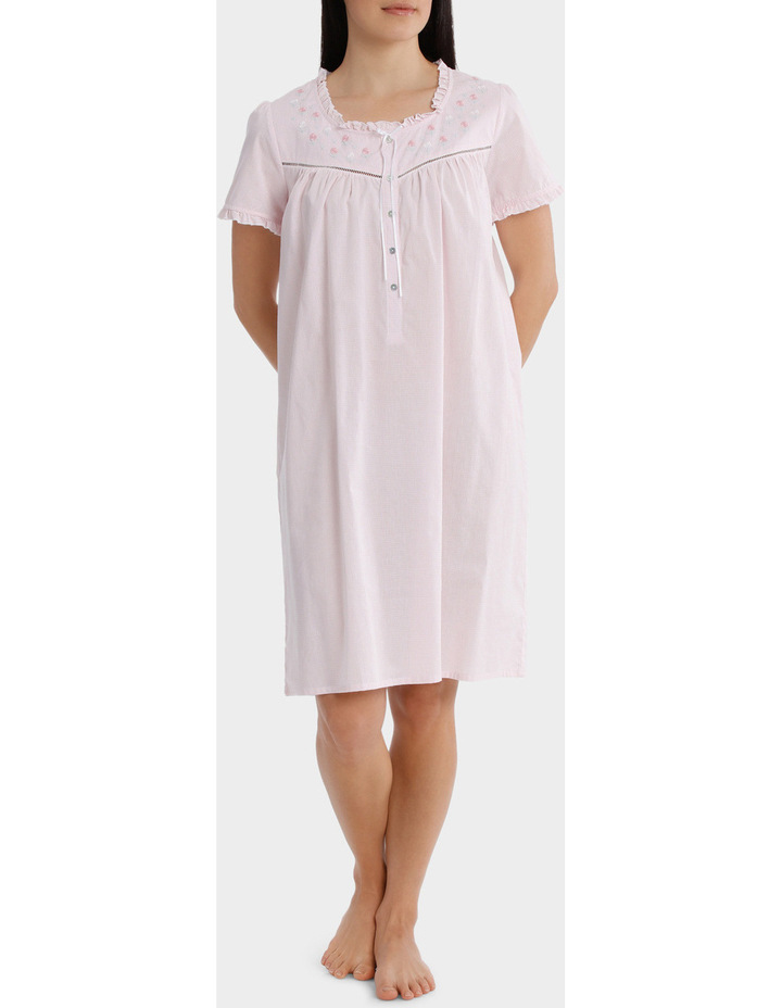 'Blossom Gingham' Short Sleeve Woven Nightie SK220MY image 1