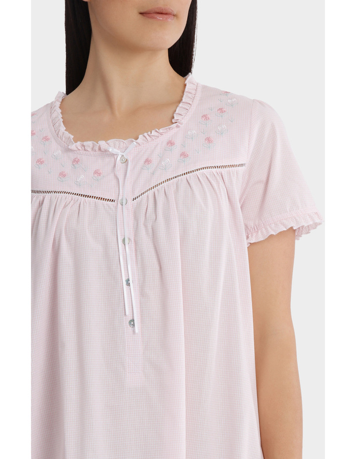'Blossom Gingham' Short Sleeve Woven Nightie SK220MY image 3