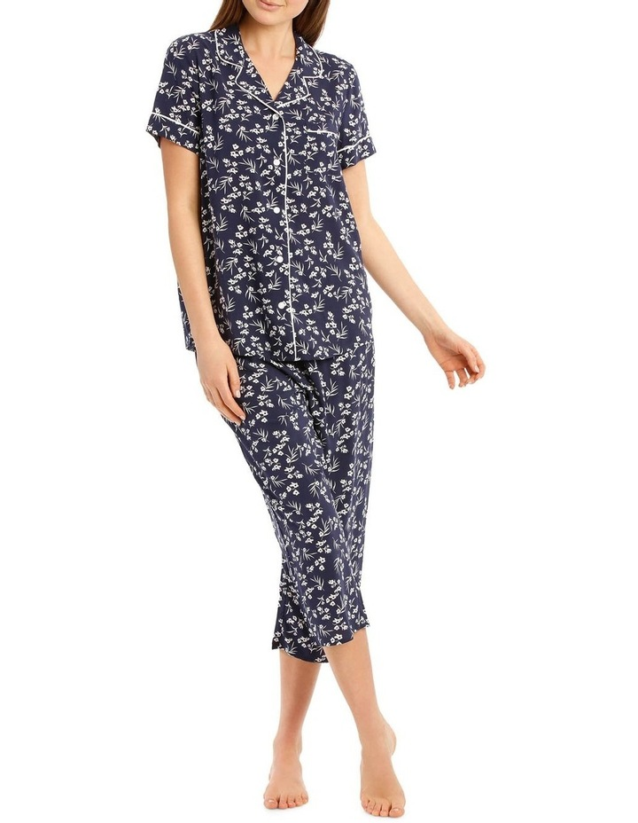 Chelsea Flower Show Woven Short Sleeve Top with 3/4 Pant PJ Set image 1