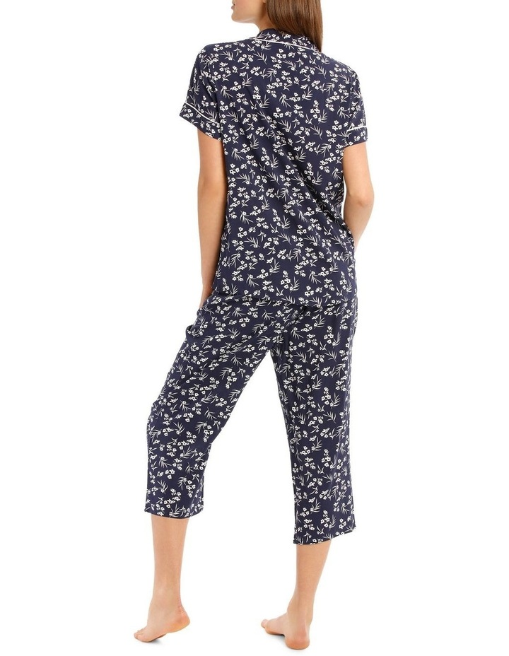 Chelsea Flower Show Woven Short Sleeve Top with 3/4 Pant PJ Set image 2