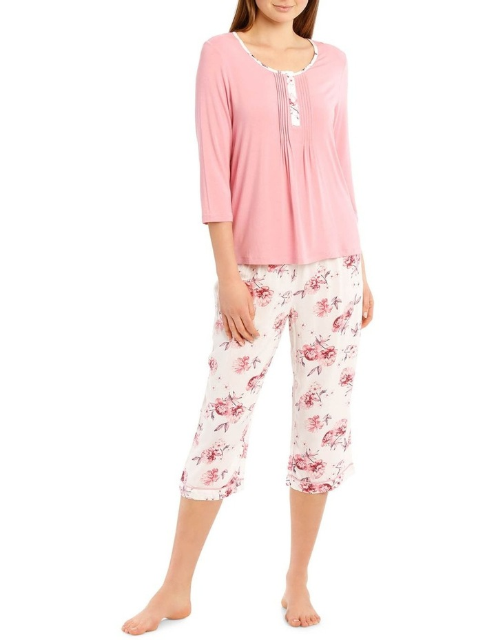 Chelsea Flower Show Knit 3/4 Sleeve Top with Woven 3/4 Pant PJ Set image 1