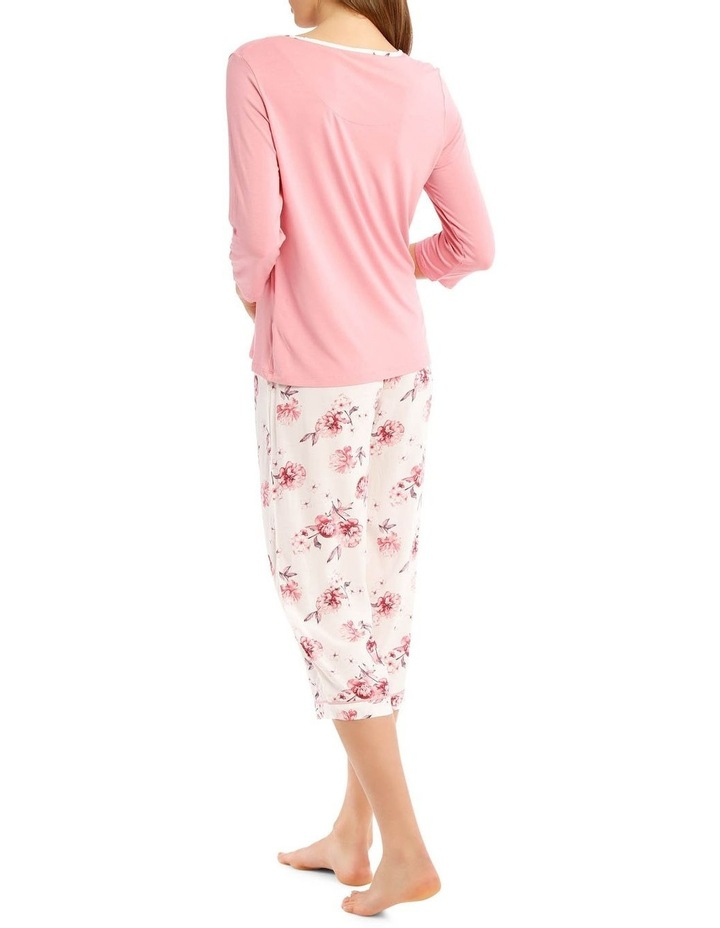 Chelsea Flower Show Knit 3/4 Sleeve Top with Woven 3/4 Pant PJ Set image 2