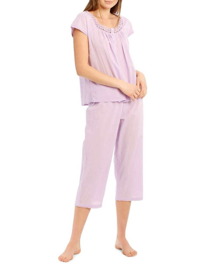 Walking Around Woven Short Sleeve Top with 3/4 Pant PJ Set image 1