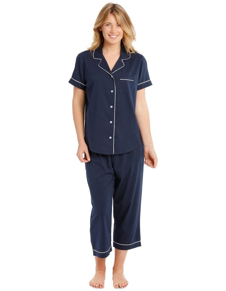 Covent Garden Woven Short Sleeve Top with 3/4 Pant PJ Set image 1