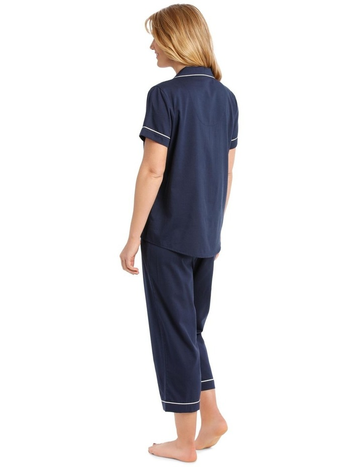 Covent Garden Woven Short Sleeve Top with 3/4 Pant PJ Set image 2