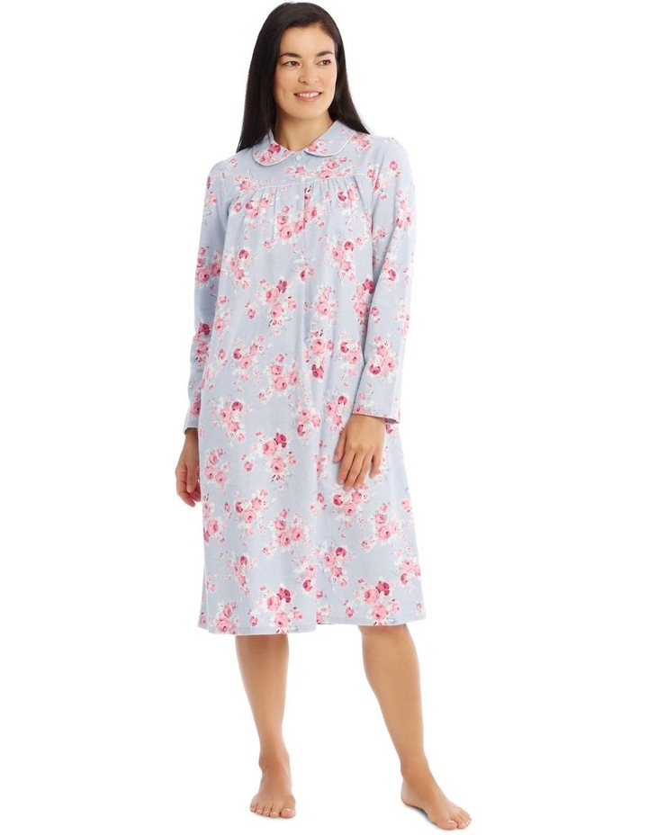 Hampshire Knit Mid-Length Long Sleeve Flannel Nightie image 1