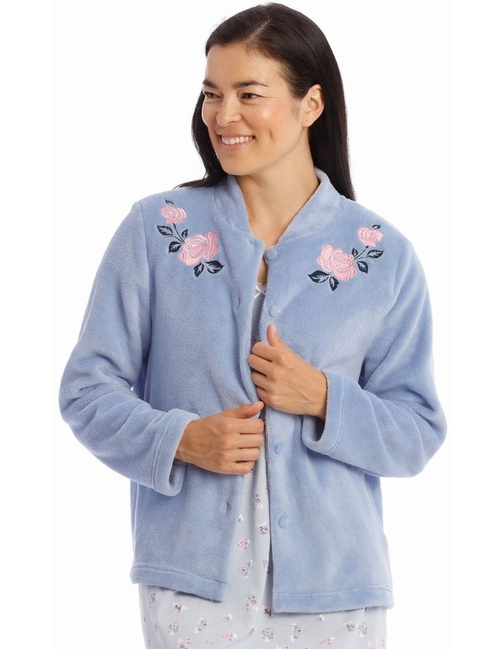 Downton Manor Woven Coral Fleece Long-Sleeve Bed Jacket image 1