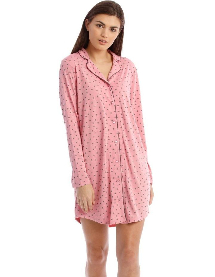 Sleeping Hearts Knit Nightshirt in Pink image 1
