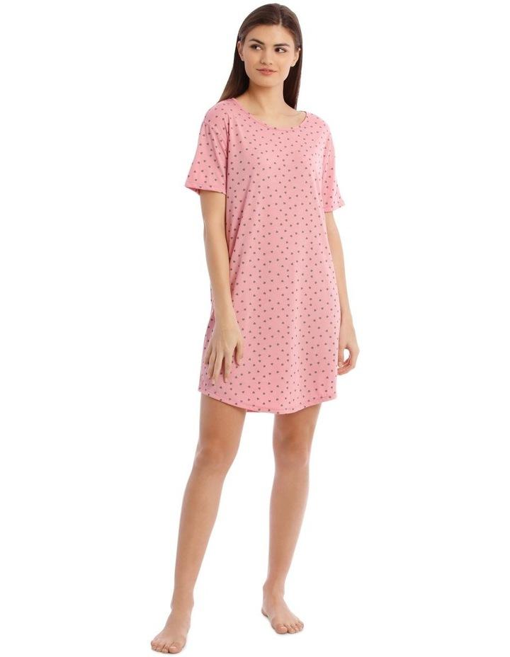 Sleeping Hearts Short-Sleeve Nightie in Pink image 1