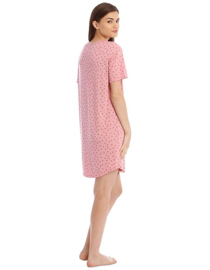Sleeping Hearts Short-Sleeve Nightie in Pink image 2
