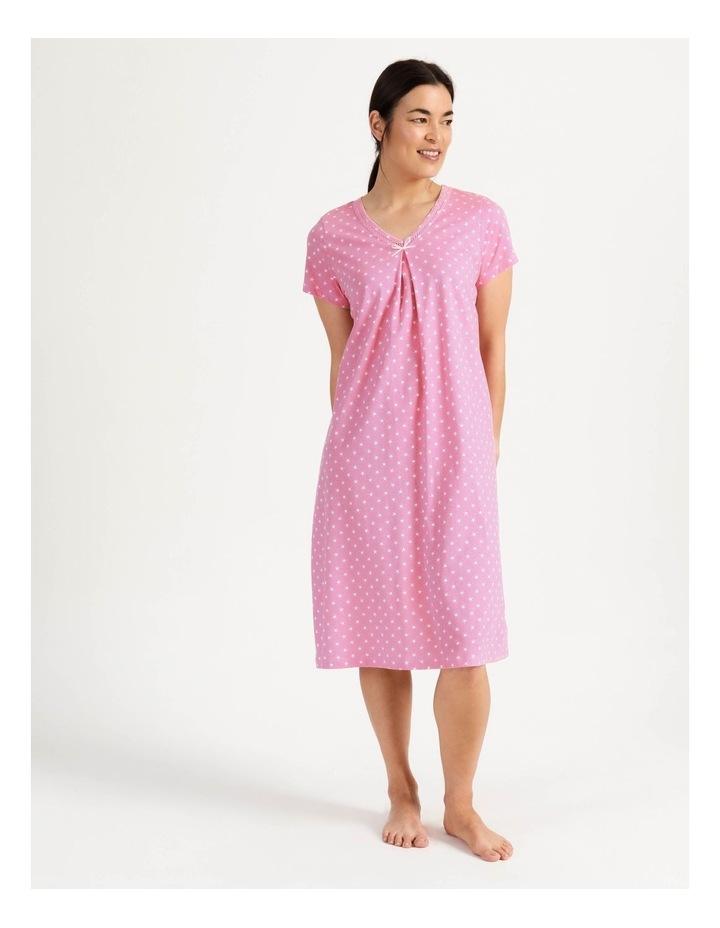Timeless V Neck Mid-Length Short Sleeve Nightie Pink image 1