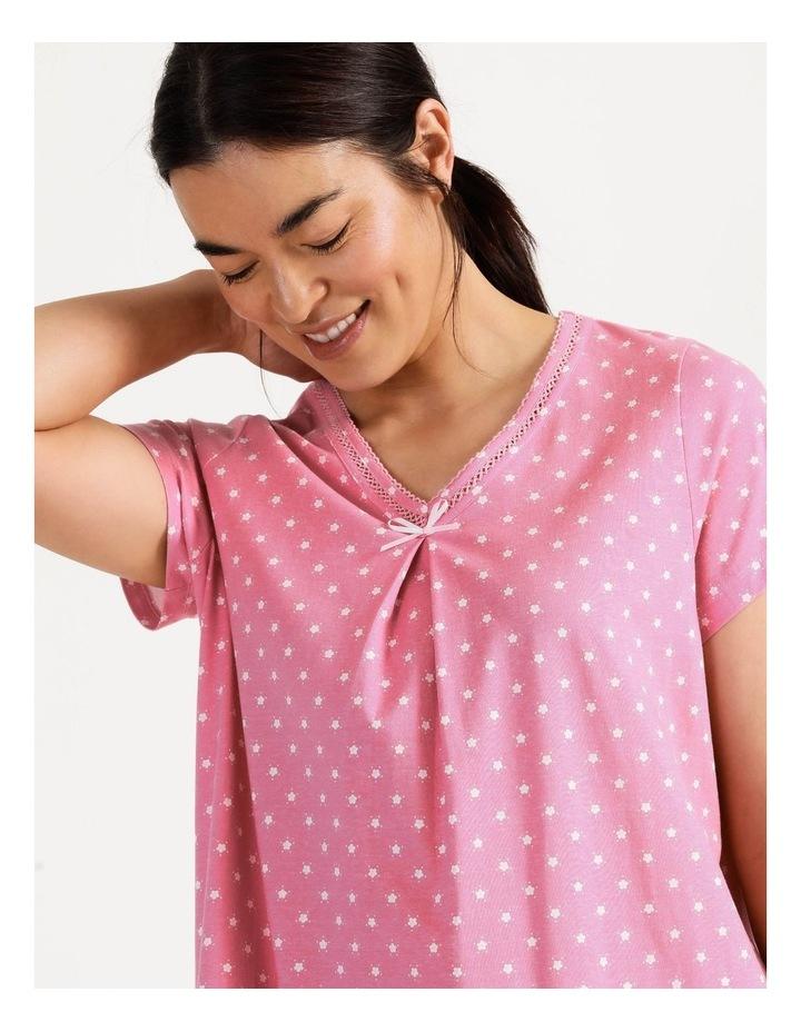 Timeless V Neck Mid-Length Short Sleeve Nightie Pink image 3